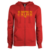 ENZA Ladies Red Fleece Full Zip Hoodie-Simpson College Flat Word Mark