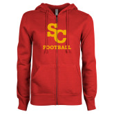 ENZA Ladies Red Fleece Full Zip Hoodie-SC Football