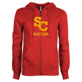 ENZA Ladies Red Fleece Full Zip Hoodie-SC Soccer