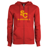 ENZA Ladies Red Fleece Full Zip Hoodie-SC Basketball