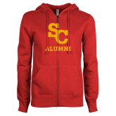 ENZA Ladies Red Fleece Full Zip Hoodie-SC Alumni