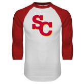 White/Red Raglan Baseball T Shirt-SC Interlocking