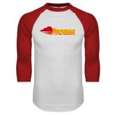 White/Red Raglan Baseball T Shirt-Storm Secondary Logo