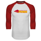White/Red Raglan Baseball T Shirt-Simpson College Storm Logo