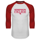 White/Red Raglan Baseball T Shirt-Simpson College Flat Word Mark