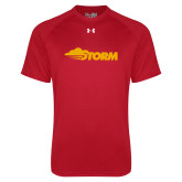 Under Armour Red Tech Tee-Storm Secondary Logo