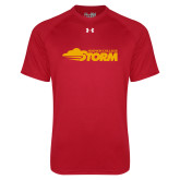 Under Armour Red Tech Tee-Simpson College Storm Logo