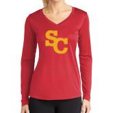 Ladies Syntrel Performance Red Longsleeve Shirt-SC Interlocking