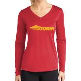 Ladies Syntrel Performance Red Longsleeve Shirt-Storm Secondary Logo