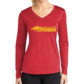Ladies Syntrel Performance Red Longsleeve Shirt-Simpson College Storm Logo