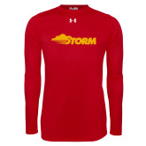 Under Armour Red Long Sleeve Tech Tee-Storm Secondary Logo