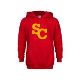Youth Red Fleece Hoodie-SC Interlocking