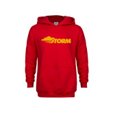 Youth Red Fleece Hoodie-Storm Secondary Logo