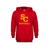 Youth Red Fleece Hoodie-SC Softball