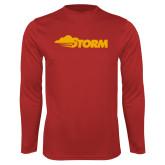 Performance Red Longsleeve Shirt-Storm Secondary Logo
