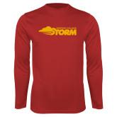 Performance Red Longsleeve Shirt-Simpson College Storm Logo