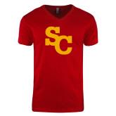 Next Level V Neck Red T Shirt-SC Interlocking