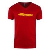 Next Level V Neck Red T Shirt-Storm Secondary Logo