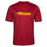 Performance Red Heather Contender Tee-Simpson College Storm Logo