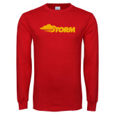 Red Long Sleeve T Shirt-Storm Secondary Logo
