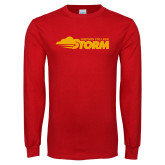 Red Long Sleeve T Shirt-Simpson College Storm Logo