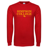 Red Long Sleeve T Shirt-Simpson College Flat Word Mark