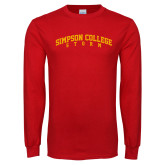 Red Long Sleeve T Shirt-Simpson College Storm Collegiate