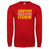 Red Long Sleeve T Shirt-Simpson Storm Lines Graphic