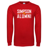 Red Long Sleeve T Shirt-Simposon Alumni Stacked