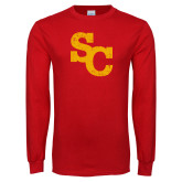 Red Long Sleeve T Shirt-SC Distressed Logo