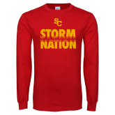 Red Long Sleeve T Shirt-SC Storm Nation