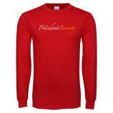 Red Long Sleeve T Shirt-The Presidents Society Logo