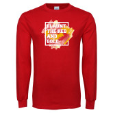 Red Long Sleeve T Shirt-Flaunt the Red and Gold