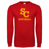 Red Long Sleeve T Shirt-SC Softball
