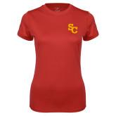 Ladies Syntrel Performance Red Tee-SC Interlocking