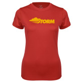 Ladies Syntrel Performance Red Tee-Storm Secondary Logo