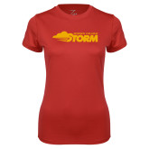Ladies Syntrel Performance Red Tee-Simpson College Storm Logo