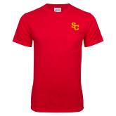 Red T Shirt w/Pocket-SC Interlocking
