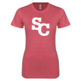 Next Level Ladies SoftStyle Junior Fitted Pink Tee-SC Interlocking