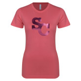Next Level Ladies SoftStyle Junior Fitted Pink Tee-SC Interlocking Foil