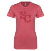 Next Level Ladies SoftStyle Junior Fitted Pink Tee-SC Pink Glitter