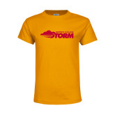 Youth Gold T Shirt-Simpson College Storm Logo