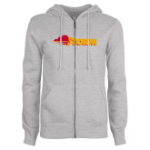 ENZA Ladies Grey Fleece Full Zip Hoodie-Storm Secondary Logo