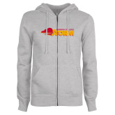 ENZA Ladies Grey Fleece Full Zip Hoodie-Simpson College Storm Logo