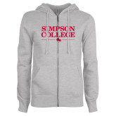 ENZA Ladies Grey Fleece Full Zip Hoodie-Simpson College Flat Word Mark