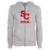 ENZA Ladies Grey Fleece Full Zip Hoodie-SC Mom
