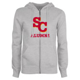 ENZA Ladies Grey Fleece Full Zip Hoodie-SC Alumni