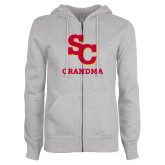 ENZA Ladies Grey Fleece Full Zip Hoodie-SC Grandma