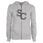 ENZA Ladies Grey Fleece Full Zip Hoodie-SC Graphite Soft Glitter