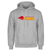 Grey Fleece Hoodie-Simpson College Storm Logo